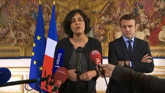Myriam El Khomri s'exprime lors d'une conférence de presse, lundi 7 mars à Matignon, après avoir rencontré les partenaires sociaux pour discuter de leurs inquiétudes face à la réforme du Code du travail.