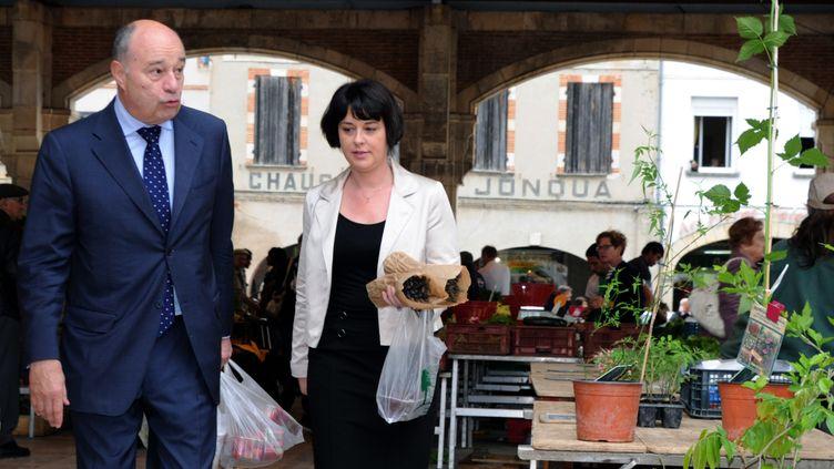 Jean-Michel Baylet et Sylvia Pinel, le 26 mai 2012, àValence-d'Agen (Tarn-et-Garonne). (PASCAL PAVANI / AFP)