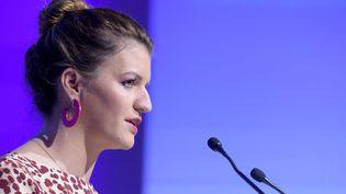 La secrétaire d'Etat à l'Egalité femmes-hommes Marlène Schiappa lors d'un discours, le 20 novembre 2019 à Paris. (ERIC PIERMONT / AFP)