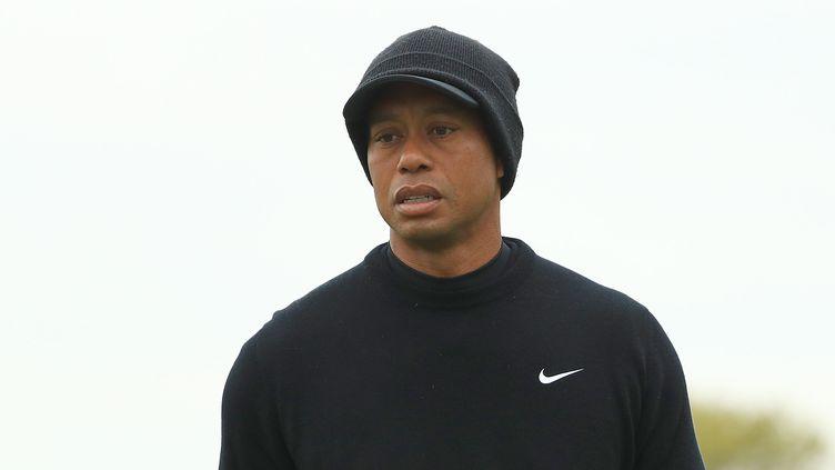 La star du golf, Tiger Woods, lors d'un entraînement à New York, le 14 mai 2019. (MIKE EHRMANN / GETTY IMAGES NORTH AMERICA / AFP)