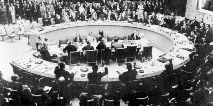 réunion du Conseil de sécurité de l'Onu pendant la guerre de 1967 (AFP)
