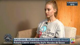 Capture d'écran d'une interview deNajila Trindade Mendes de Souza, diffusée le 5 juin 2019 sur la chaîne brésilienne SBT. (SBT / YOUTUBE)
