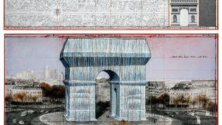 """L'Arc de Triophe, Wrapped"""" (Projet for Paris) - Place de l'Etoile - Charles de Gaulle (2019), collection particulière. (CHRISTO  / TASCHEN)"""