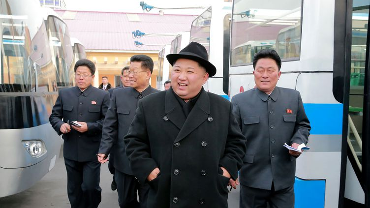 Kim Jong-un, le 1er février 2018, àPyongyang (Corée du Nord). (KCNA VIA KNS / AFP)
