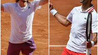 Djokovic disputera sa 29e finale en Grand Chelem, contre la première pour Tsitsipas. (Nicol Knightman / DPPI / AFP (à g.) / Filippo MONTEFORTE / AFP (à d.))