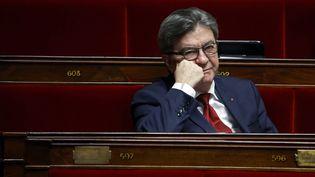 Le leader de La France insoumise, Jean-Luc Mélenchon, le 17 avril 2020 à l'Assemblée nationale. (THOMAS COEX / AFP)