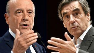 Alain Juppé et François Fillon, candidats à la primaire à droite, dont le second tour est organisé le 27 novembre 2016. (LOIC VENANCE / AFP)