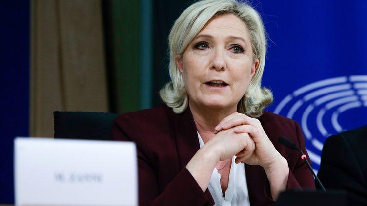 Marine Le Pen au Parlement européen à Bruxelles en Belgique, le 13 juin 2019. (ARIS OIKONOMOU / AFP)