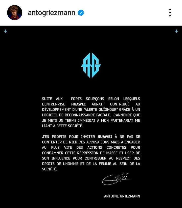 Antoine Griezmann annonce qu'il rompt son contrat avec Huawei, le 10 décembre 2020. (INSTAGRAM)