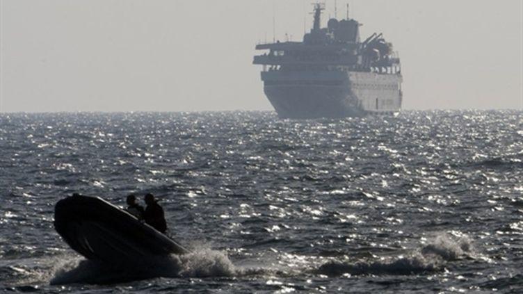 Le ferry Mavi Marmara après l'assaut israélien dans les eaux internationales, le 31 mai 2010 (AFP - Menahem Kahana)