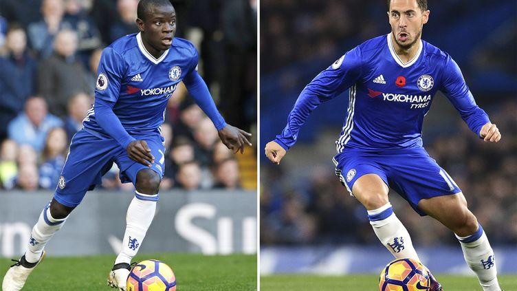 Les joueurs de Chelsea N'Golo Kanté (à gauche) et Eden Hazard (à droite) figurent dans l'équipe type de la saison de Premier League. (GLYN KIRK / AFP)