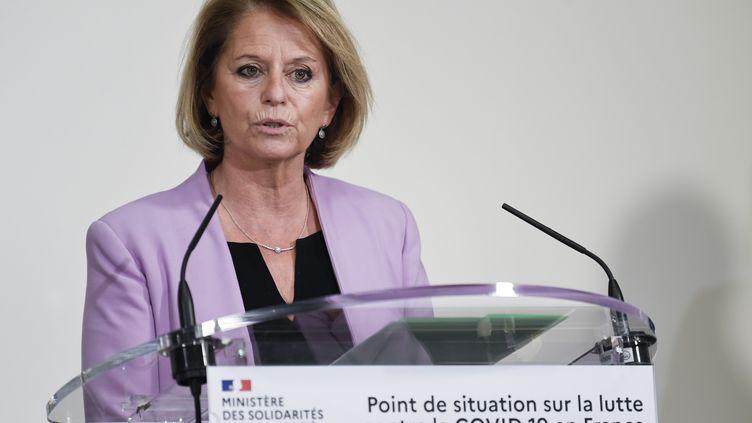 La ministre déléguée à l'Autonomie, Brigitte Bourguignon, lors d'un point presse sur le Covid-19, jeudi 19 novembre, à Paris. (BERTRAND GUAY / AFP)