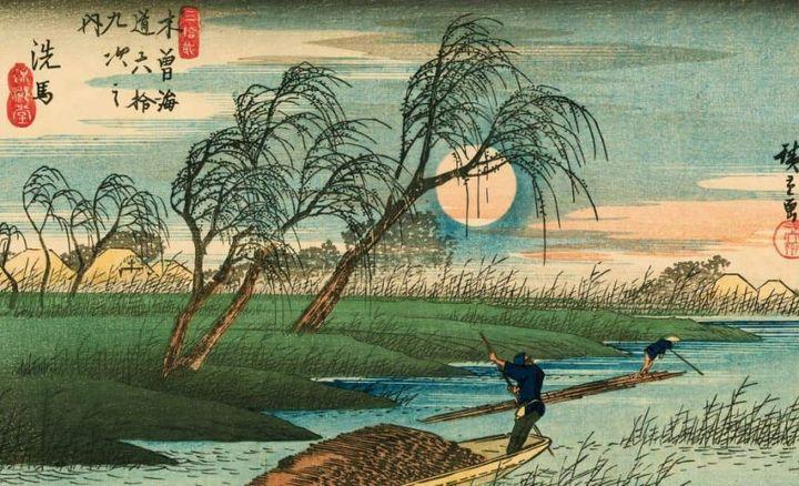 Hutagawa Hiroshige (1797-1858). Les 69 relais de la route du Kisokaido. Relais N°32 : Seba. 1835-1838. Xylogravure polychrome. (FUNDACJA JERZEGO LESKOWICZA (AVEC L'AIMABLE AUTORISATION DU MUSEE CERNUSCHI))
