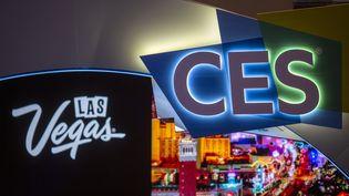 Le logo du CES de Las Vegas (Nevada). Photo d'illustration. (DAVID MCNEW / AFP)