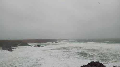 La mer démontée à Belle-Ile-en-Mer (Morbihan), en raison de la tempête Ciara, le 9 février 2020. (DR)