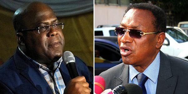 A gauche, Félix Tshisekedi, fils de l'opposant historique Etienne Tshisekedi. A droite, Bruno Tshibala, ancien compagnon du fondateur de l'UDPS et actuel Premier ministre de Joseph Kabila. Tous les deux se disputent l'héritage d'Etienne Tshisekedi. (Photo Reuters/capture d'écran/DR)