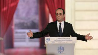 François Hollande lors de sa conférence de presse à l'Elysée (Paris), le 5 février 2015. ( PHILIPPE WOJAZER / REUTERS)