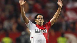 Le Colombien Radamel Falcao, le joueur de l'AS Monaco le mieux payé, lors du match de Ligue 1 Monaco-Lyon, à Monaco, le 27 octobre 2013. (VALERY HACHE / AFP)