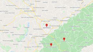 Saint-Etienne, Le Bessat et Saint-Genest-Malifaux (Loire). (GOOGLE MAPS)