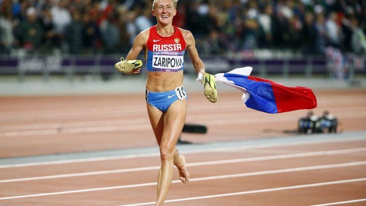 La Russe Yulia Zaripova, médaillée d'or du 3000 m steeple à Londres, contrôlée positive. (KERIM OKTEN / EPA)