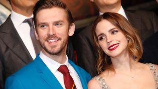 L'acteur Dan Stevens et l'actrice Emma Watson à l'avant-première de La Belle et la Bête, le 27 février à Shangaï, en Chine. (MAXPPP)