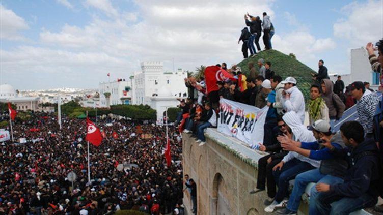 Manifestation à Tunis contre le Premier ministre de transition Mohamed Ghannouchi, le 25 février 2011 (AFP/BORNI Hichem)