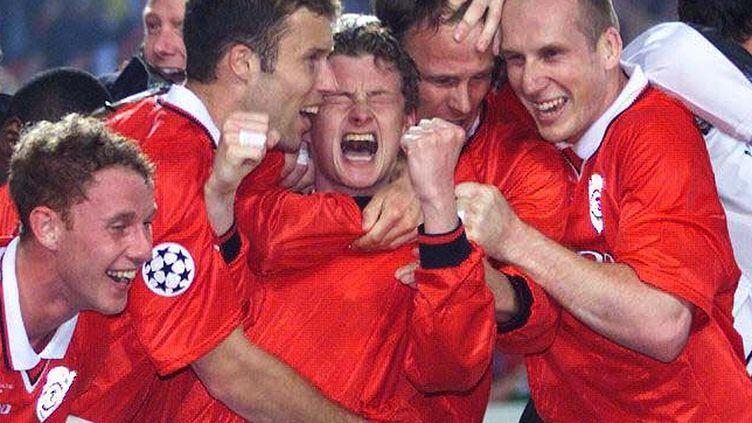 Ole Gunnar Solskjaer célèbre son but en finale de la Ligue des Champions 1999 (DAN CHUNG / X00814)