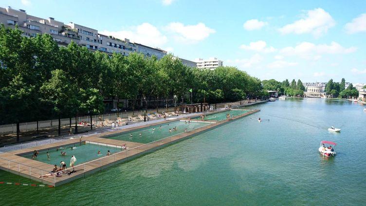 Visuel du projet de zone de baignade dans le bassin de La Villette à Paris (© MAIRIE DE PARIS)