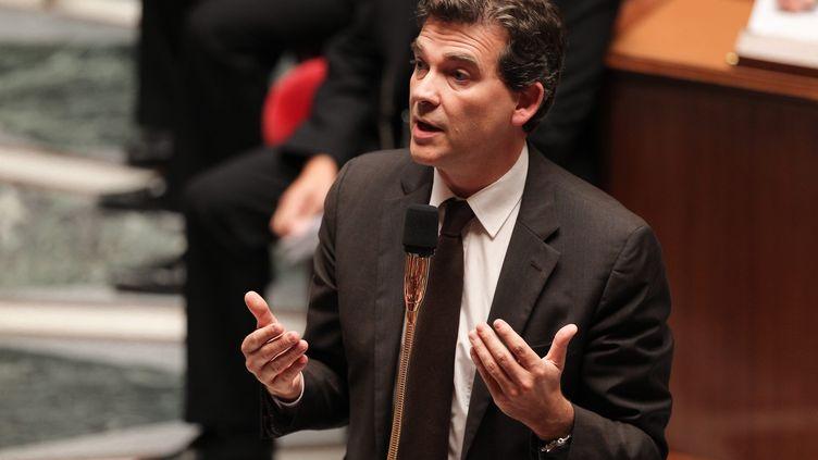 Arnaud Montebourg, le ministre du Redressement productif,à l'Assemblée nationale, le 11 septembre 2012, lors d'une séance de questions au gouvernement. (MATTHIEU DE MARTIGNAC / MAXPPP)