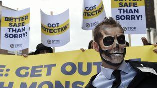 Des manifestants contre le glyphosate à Bruxelles, le 25 octobre 2017. (JOHN THYS / AFP)