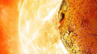 Une reproduction de l'exoplanèteKepler-78b, en orbite autour de son soleil. (DAVID A. AGUILAR / NASA / AFP)