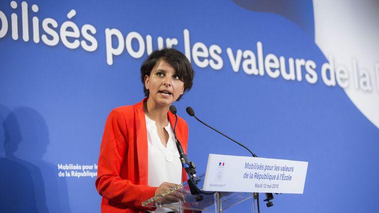 (Najat VALLAUD BELKACEM aux Assises de l' Ecole et ses partenaires pour les valeurs de la Republique à la Sorbonne, le 12 mai 2015 © Maxppp)