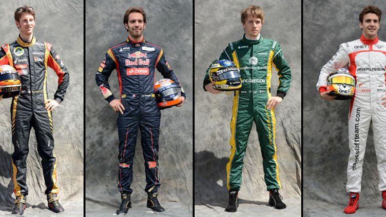 Les quatre pilotes français en F1 : Romain Grosjean, Jean-Eric Vergne, Charles Pic et Jules Bianchi
