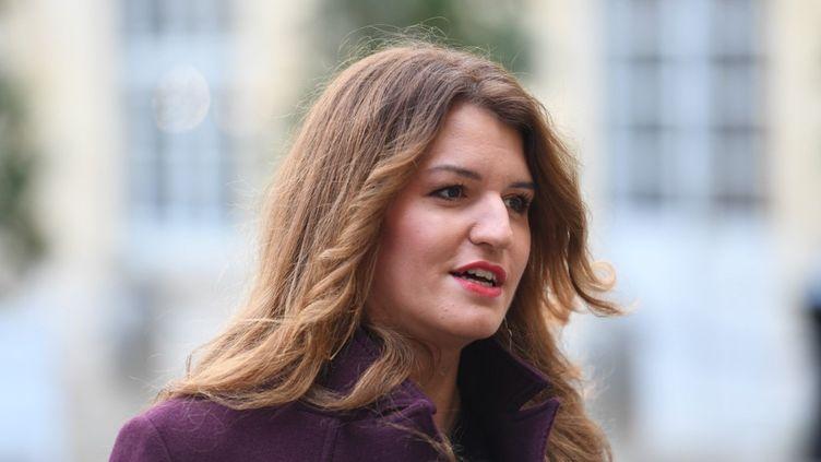 Marlène Schiappa, alors Secrétaire d'État auprès du Premier ministre, chargée de l'Égalité entre les femmes et les hommes, le 25 novembre 2019, au ministère de l'Intérieur, à Paris. (STEPHANE DE SAKUTIN / AFP)