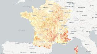 La carte du temps moyen d'accès aux principaux services de la vie courante, selon une étude de l'Insee publiée le 6 janvier 2016. (FRANCETV INFO)