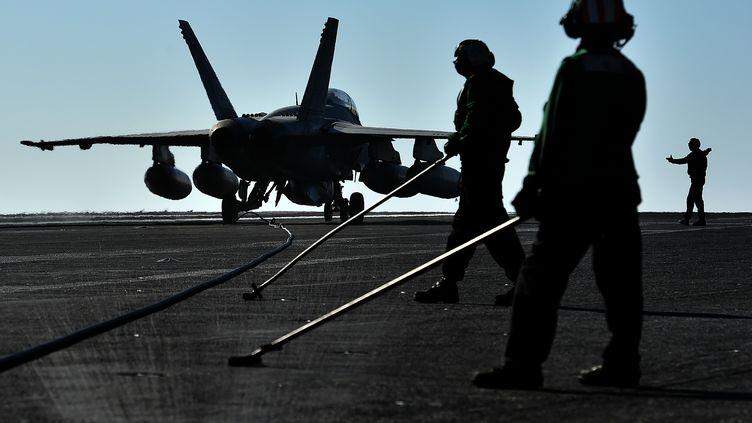 Un avion de chasse américain, engagé dans la lutte contre les forces jihadistes en Syrie, embarqué sur le porte-avionUSS Dwight D. Eisenhower, en pleine Méditerranée, le 6 juillet 2016. (ALBERTO PIZZOLI / AFP)