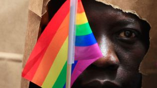 Un demandeur d'asile ougandais se couvre le visage d'un sac en papier afin de protéger son identité lors de sa participation à une manifestation de la fierté à Boston, au Massachusetts, en juin 2013. (JESSICA RINALDI / X01704)