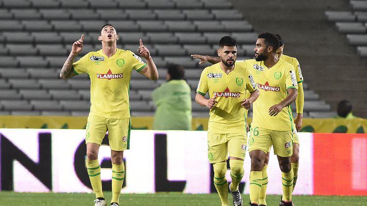 Le joueur de Nantes Emiliano Sala (à gauche) a porté les Canaris (JEAN-SEBASTIEN EVRARD / AFP)