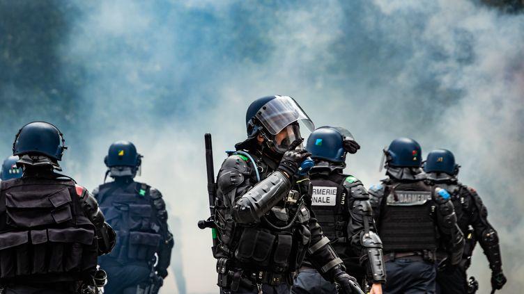 """Des policiers lors d'une manifestation des """"gilets jaunes"""", le 15 juin 2019, à Toulouse. (C?DRIC JANIS / HANS LUCAS / AFP)"""