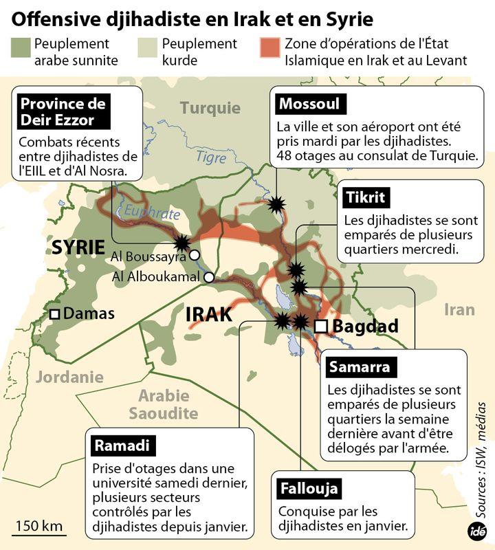 (Les villes et zones contrôlées par les djihadistes en Irak et en Syrie © Idé)