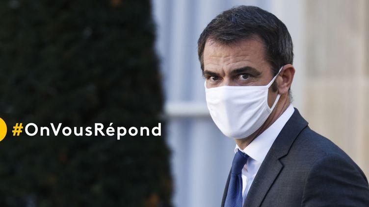 """Le ministre de la Santé, Olivier Véran, est l'invité du """"20 heures"""" de France 2, mardi 29 décembre 2020. (LUDOVIC MARIN / AFP)"""
