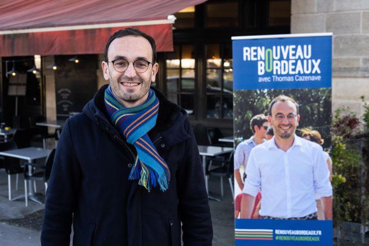 Thomas Cazenave, le candidat LREM à Bordeaux, le 11 janvier 2020. (VALENTINO BELLONI / HANS LUCAS / AFP)