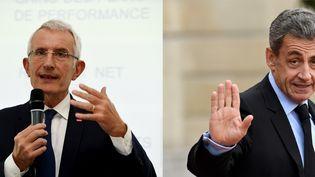 Guillaume Pépy (à gauche) et Nicolas Sarkozy (à droite) (ERIC PIERMONT / AFP)