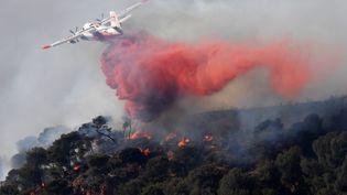 Un avionsurvole la commune de Vitrolles (Bouches-du-Rhône) ravagée par un incendie, le 10 août 2016. (BORIS HORVAT / AFP)