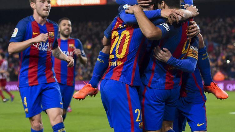 La joie des Barcelonais qualifiés en finale de la Coupe du Roi (JOSEP LAGO / AFP)