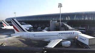 Un avion de la compagnie Air France, à l'aéroport de Roissy, le 20 janvier 2017. (Photo d'illustration) (BERTRAND GUAY / AFP)