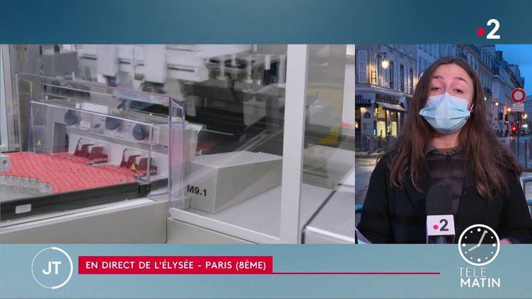 Emmanuel Macron réunit les fabricants de vaccin par visioconférence, mardi 2 février, dans l'après-midi. (France 2)
