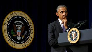 """Face aux piratages russes, Barack Obama a annoncé que """"certaines (réprésailles) seront explicites et publiques, d'autres ne le seront peut-être pas"""". (KEVIN LAMARQUE / REUTERS)"""