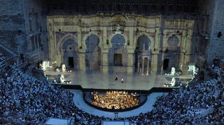 """Une représentation d'""""Aïda"""" de Verdi aux Chorégies d'Orange, le 7 juillet 2011  (Raymond Delalande / Sipa)"""