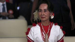 Aung San Suu Kyi lors d'un festival à Rangoun, en Birmanie, le 1er février 2020. (SAI AUNG MAIN / AFP)